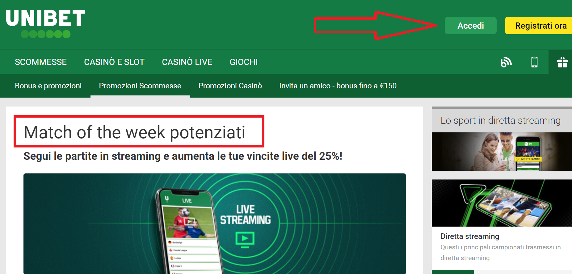 Mettere giù le scommesse su Unibet sportive sul web?