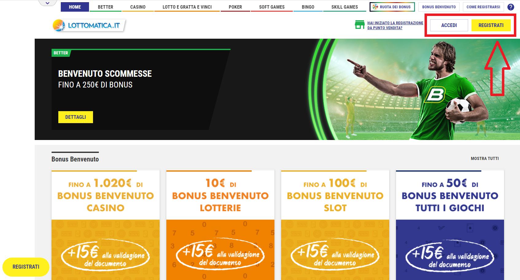 applicazione ricompensa Lottomatica-scommesse
